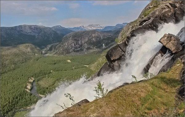 Národní park Rago. Vodopád Litlverivassforsen