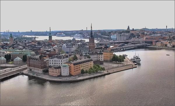 Stockholmská radnice. Pohled na Gamla Stan