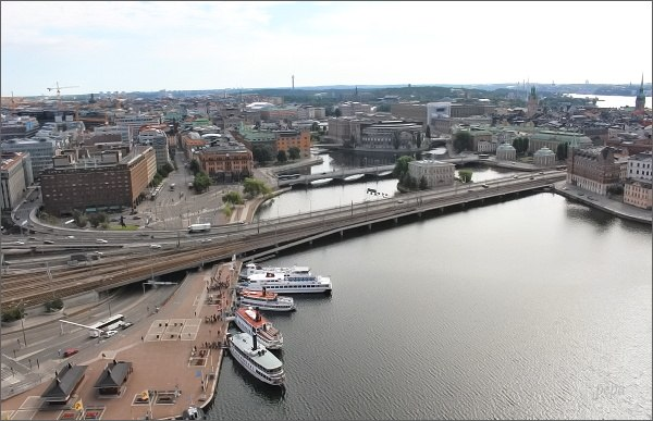 Stockholmská radnice. Pohled k východní části města