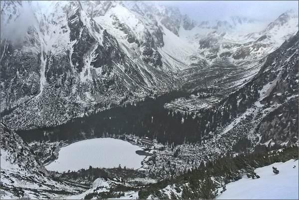 Vysoké Tatry, Popradské pleso a Mengusovská dolina zpod Sedla pod Ostrvou