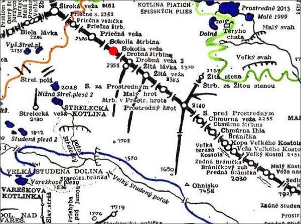 Sokolia veža, mapa