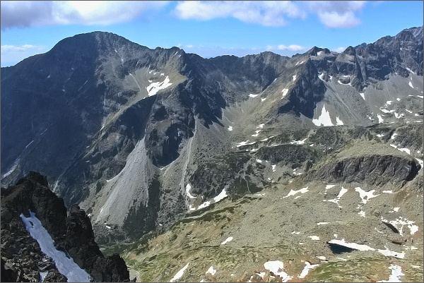 Slavkovský štít, Vareškový hrebeň a Slavkovské veže ze Sokolej veže