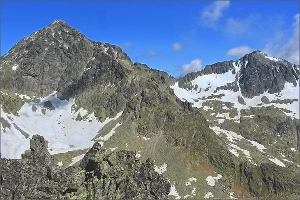 Malý Ľadový štít a Baranie rohy ze Sokolej veže