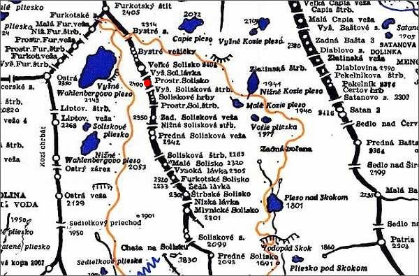 Prostredné Solisko, mapa