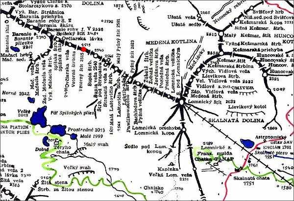 Veterný štít, mapa