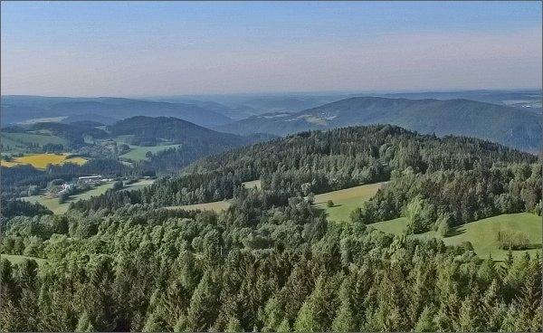 Rozhledna Horní les. Pohled k údolí Svratky pod Vírskou přehradou