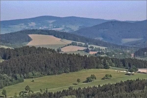 Buchtův kopec z rozhledny Horní les