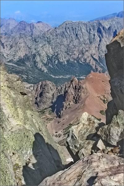 Monte Cinto, pohled k severu do údolí Haut-Asco