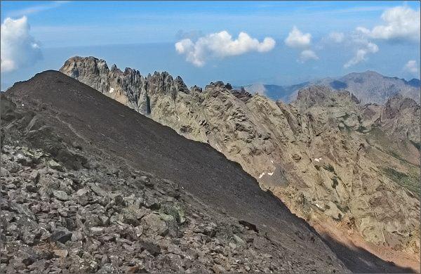 Monte Cinto, pohled k jihozápadu