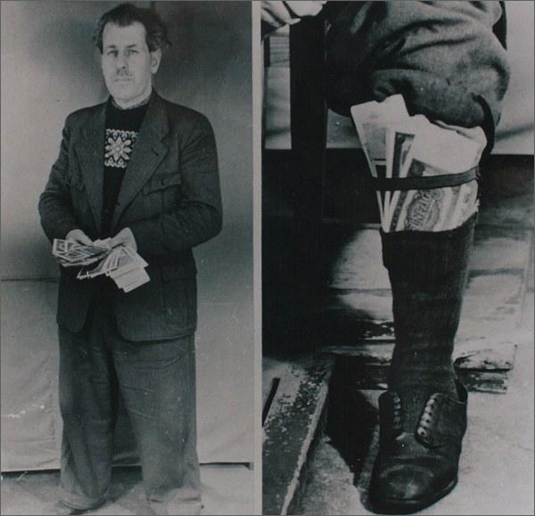 Pašerák peněz zatčený v Německu (1957)