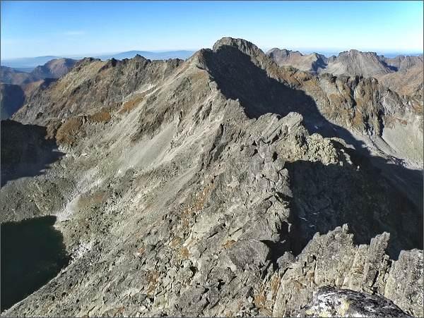 Bystré sedlo, Furkotský štít a Hrubý vrch z Veľkého Soliska