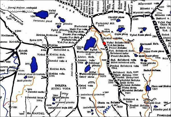 Veľké Solisko, mapa