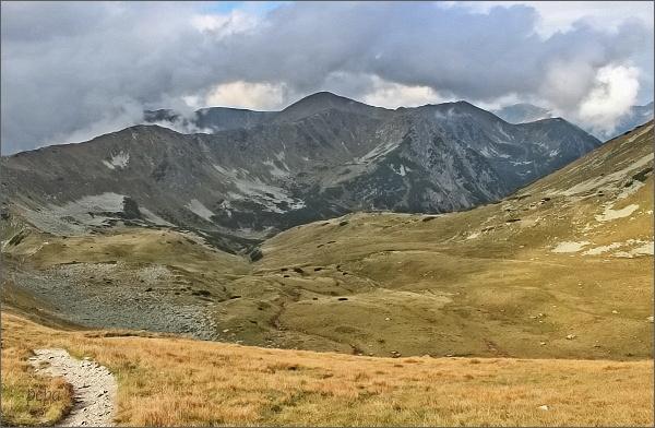 Zadná Tichá dolina a Liptovské kopy z Hladkého sedla