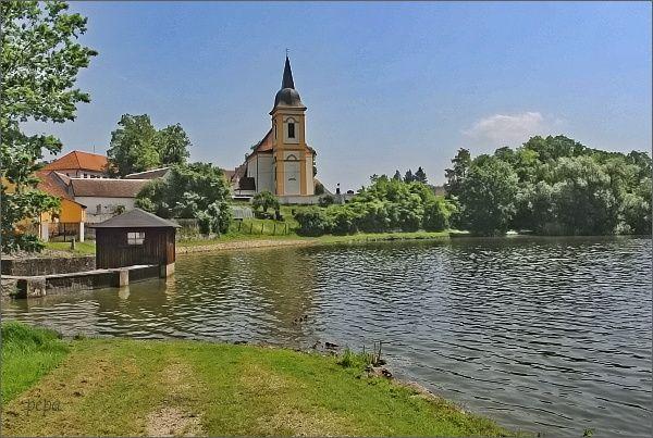 Bošilecký rybník a Bošilec s kostelem sv. Martina