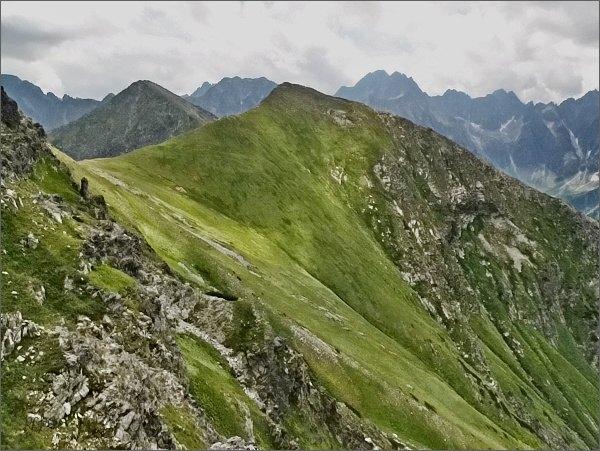 Široké sedlo a Štít nad Zeleným ze Svišťového Kopiniaku
