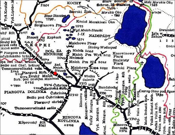 Druhý Mních, mapa