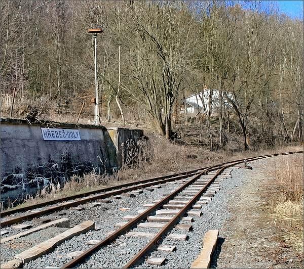 Areál bývalého Dolu Hřebeč. Mladějovská úzkorozchodná železnice