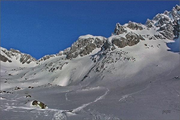 Kotlina Piatich Spišských plies. Pohled k Baraním rohom