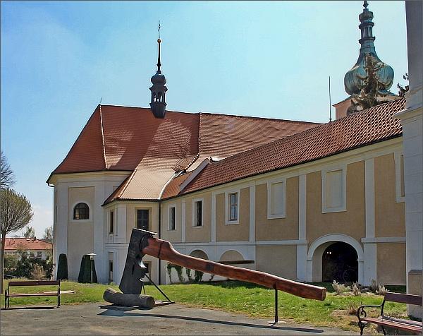 Konice. Zámek a kostel Narození Panny Marie