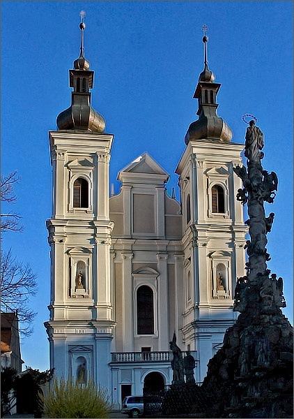 Lomnice, kostel Navštívení Panny Marie, morový sloup