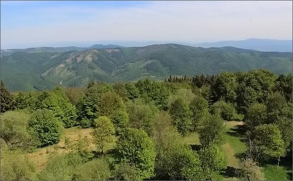 Velký Lopeník, pohled k východu. Na horizontu vpravo Považský Inovec