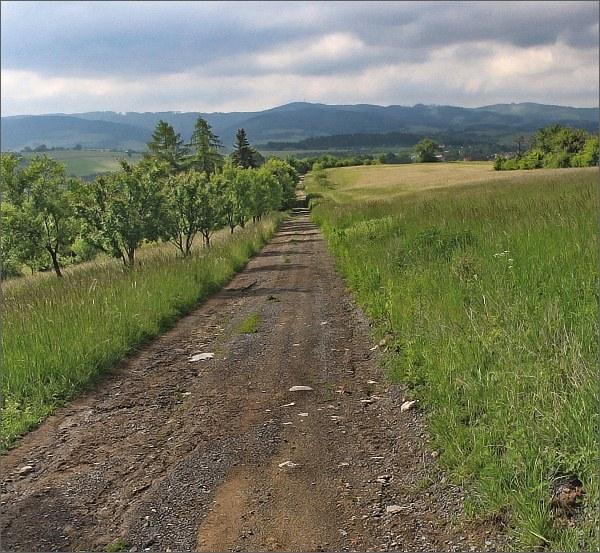 Cestou nad Vizovicemi. Na horizontu Doubrava, před ní Janova hora