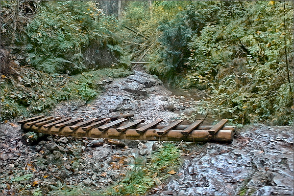 Suchá Belá. Potok přemosťují dřevěné lávky