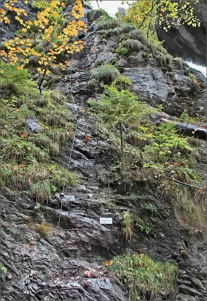 Kyseľ. Ferrata HZS v úseku podél Obrovského vodopádu