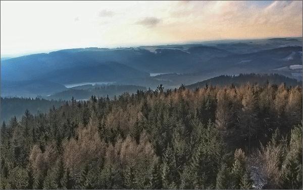 Horní les, rozhledna. Pohled k Víru a ke Karasínu