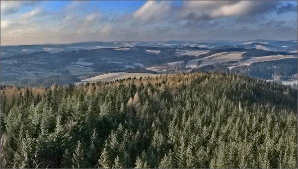 Horní les, rozhledna. Pohled k západu