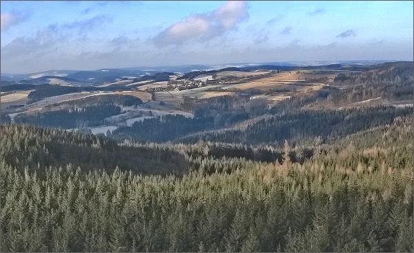 Horní les, rozhledna. Pohled k severozápadu