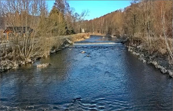 Řeka Opava ve Vrbně pod Pradědem