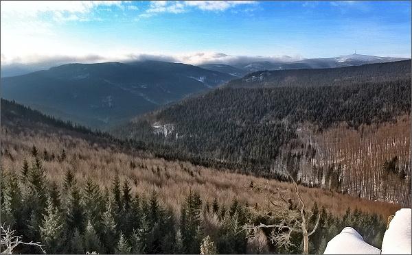 Kamzičí skála, pohled k Pradědu. Vlevo Žárový vrch a Lyra
