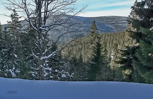 Černý vrch a Jelení loučky zpod Medvědího vrchu