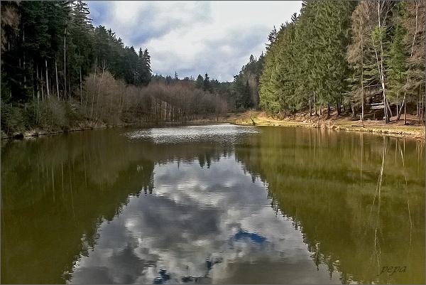 Rybník Býkovka v údolí stejnojmenného potoka