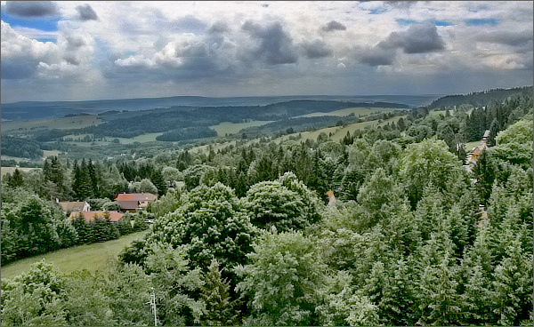 Pohled z rozhledny Nová Ves k jihovýchodu.