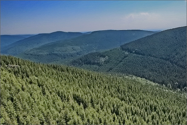 Sokolí skála, pohled k Medvědské hornatině (Lyra a Žárový vrch)